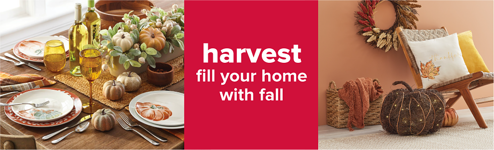 A table with fall decor and dinnerware. A small chair with fall decorative pillows, a wreath behind it, and pumpkin decorations beside it. Harvest. Fill your home with fall.