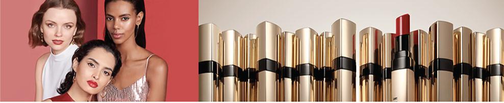 An assortment of Bobbi Brown lipsticks & three women wearing them.