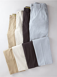 Four pair of pants in various colors. Shop pants.
