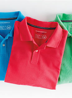 Three polos in various colors. Shop polos.