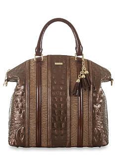 A brown leather croc handbag. Shop Brahmin.