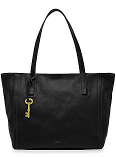 A black leather tote with gold key detail. Shop totes.