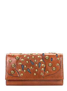 A brown leather wallet with gold stud detail. Shop wallets.