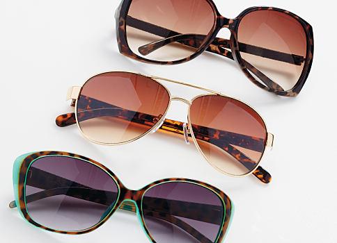 An assortment of women's sunglasses. Shop accessories.