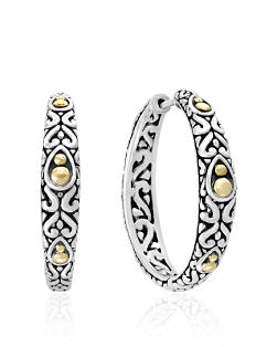 Ornately detailed silver & gold earrings. Shop fine jewelry earrings.