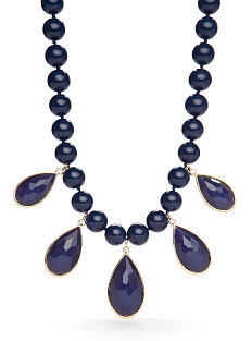 A navy bead necklace. Shop fashion necklaces.