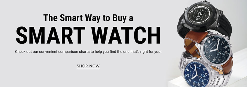 An assortment of smart watches. The smart way to buy a smart watch. Check out our convenient comparison charts to help you find the one that's right for you. Shop now.