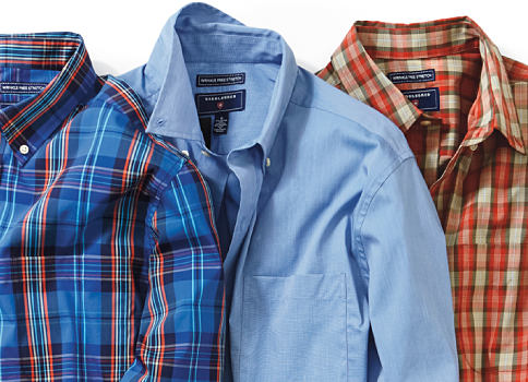 An assortment of men's button-front shirts in a variety of colors & prints. Shop Saddlebred.