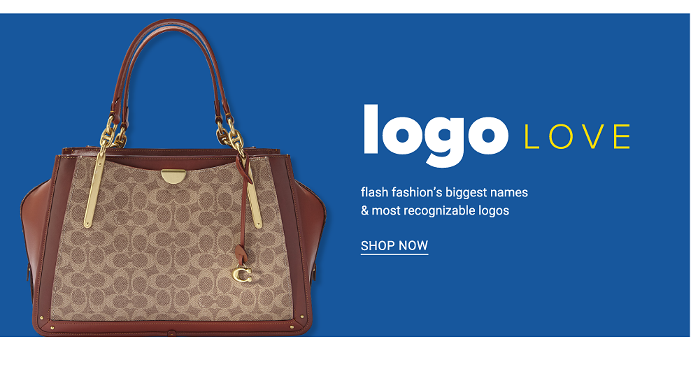 A beige & brown patterned print handbag with brown leather trim & handles. Logo Love. Flash fashion's biggest names & most recognizable logos. Shop now.