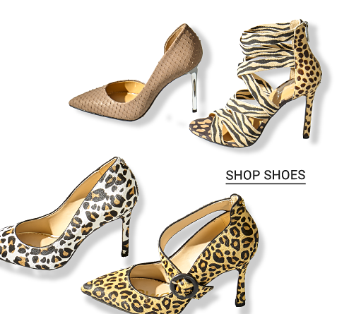 An assortment of animal print shoes. Shop shoes.