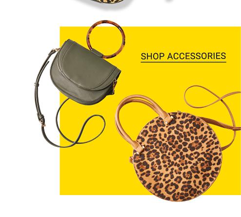 An assortment of animal print handbags. Shop accessories