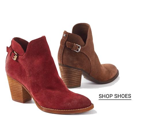 A burgundy suede bootie & a brown suede bootie. Shop shoes.