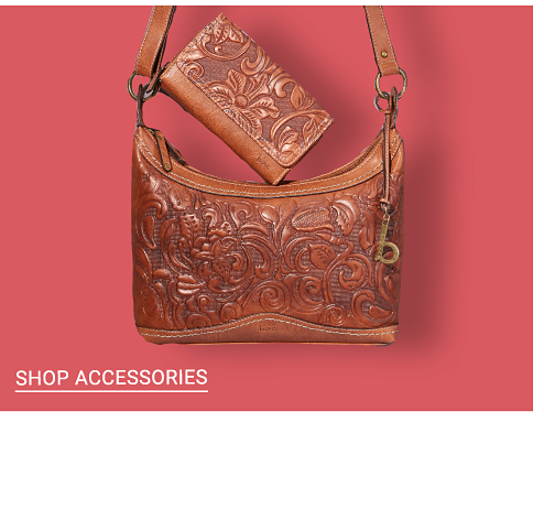 A hand tooled brown leather wallet & matching handbag. Shop accessories.