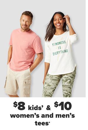 $8 kids' & $10 men's and women's tees.