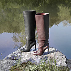 A black leather tall boot & a brown leather tall boot. Shop boots.