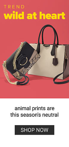 A snake print & solid brown leather colorblock handbag & a beige tote with brown leather trim & handles. Trend. Wild at Heart. Animal prints are this season's neutral. Shop now.