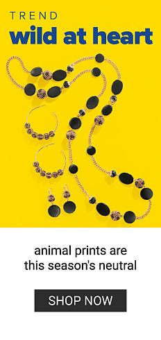 An assortment of bohemian style fashion jewelry. Trend. Wild at Heart. Animal prints are this season's neutral. Shop now.