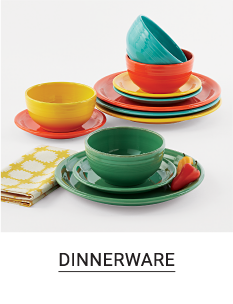 An assortment of plates & cups in a variety of colors. Shop dinnerware.