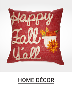 A red, white & gold Happy Fall Yall throw pillow. Shop home decor.