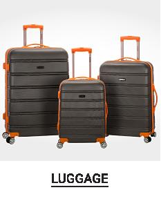 A black 3 piece hardside luggage set with beige trim & handles. Shop luggage.