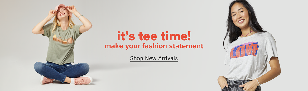 A young woman wearing a green short sleeve graphic tee, skinny ankle jeans, light pink sneakers and a light pink hat. A young woman wearing a white short sleeve graphic tee with jeans. It's tee time! Make your fashion statement. Shop new arrivals.