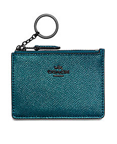 A dark teal pebbled leather wallet with keychain zipper.