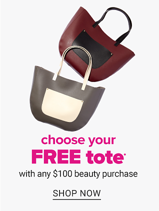 A brown & black colorblock tote & a gray & white colorblock tote. Choose your free tote with any $100 beauty purchase. Shop now.