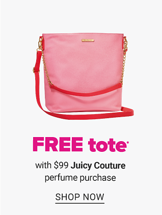 A pink tote. Free tote with $99 Juicy Couture perfume purchase. Shop now.