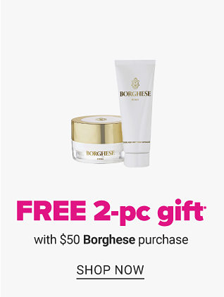 A jar & a tube of beauty product. Free 2 piece gift with Borghese purchase. Shop now.