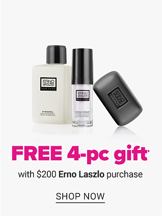 An assortment of beauty products. Free 4 piece gift with $200 Erno Laszlo purchase. Shop now.