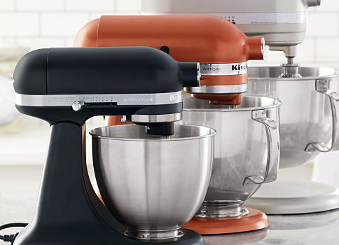 3 KitchenAid mixers. One is black. One is copper colored. One is gray. Shop small appliances.