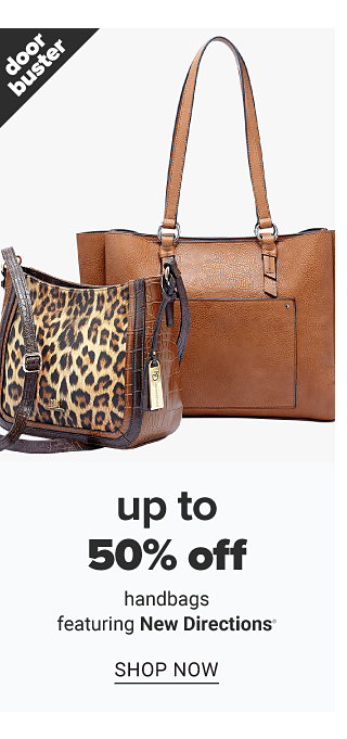 A leopard print handbag with brown leather trim & strap & a brown leather tote. Doorbuster. Up to 50% off handbags featuring New Directions. Shop now.