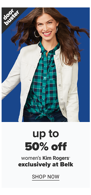 A woman wearing a white jacket over a green & blue plaid long sleeved button front blouse & blue jeans. Doorbuster. Up to 50% off women's Kim Rogers. Exclusively at Belk. Shop now.