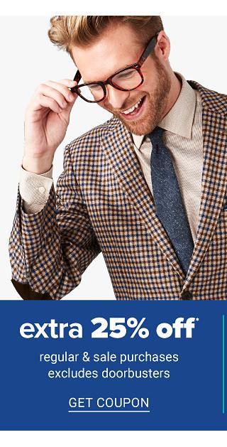 A man wearing glasses, a beige, brown & navy houndstooth sport coat, beige dress shirt & black brocade tie. Men's Wardrobe Sale. Extra 25% off regular & sale purchases. Excludes Doorbusters. Get coupon.