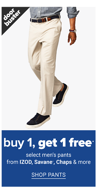A man wearing a gray long sleeved button front shirt & beige pants. A man wearing glasses, a coral, white & blue plaid long sleeved button front shirt & black pants. Doorbuster. Buy 1, Get 1 Free select men's pants & sportswear from Izod, Savane, Chaps & more. Shop pants.
