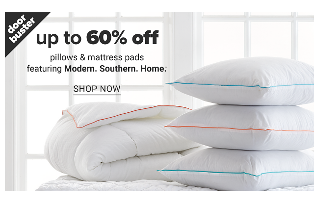 A folded white mattress & a stack of white pillows. Doorbuster. Up to 60% off pillows & mattress pads featuring Modern Southern Home. Shop now.