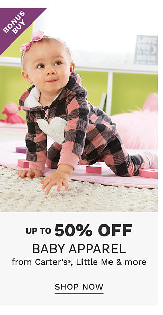 A baby girl wearing a pink & black plaid hoodie with a white heart on the front & matching pants. Bonus Buy. Up to 50% off baby apparel from Carter's, Little Me & more. Shop now.
