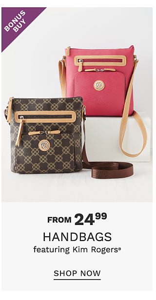 A brown & dark brown check patterned handbag with brown leather trim & dark brown strap. A coral leather crossbody with brown leather trim & strap. Bonus Buy. From $24.99 handbags from Kim Rogers. Shop now.
