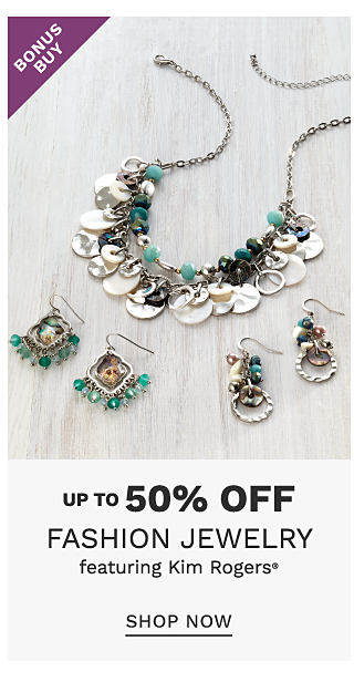 An assortment of silver tone metal & multi colored gem earrings & necklaces. Bonus Buy. Up to 50% off fashion jewelry featuring Kim Rogers. Shop now.