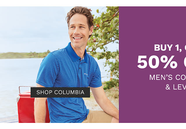 A man wearing a blue & white horizontal striped polo & beige shorts. A man wearing a white T shirt, blue jeans & navy sneakers. Buy 1, Get 1 50% off men's Columbia & Levi's. Free or discounted items must be of equal or lesser value. Shop Columbia.