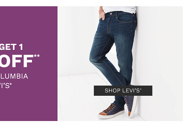 A man wearing a blue & white horizontal striped polo & beige shorts. A man wearing a white T shirt, blue jeans & navy sneakers. Buy 1, Get 1 50% off men's Columbia & Levi's. Free or discounted items must be of equal or lesser value. Shop Levi's.