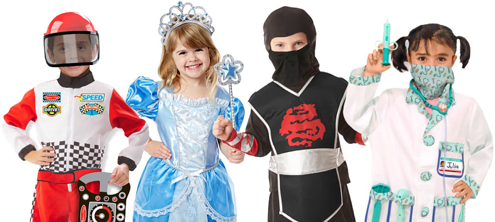 A boy wearing a racecar driver costume. A gril wearing a princess costume. A boy wearing a ninja costume. A girl wearing a doctor costume. Wicked-awesome Halloween Styles. Costumes & clothes for your little goblins. Shop now.