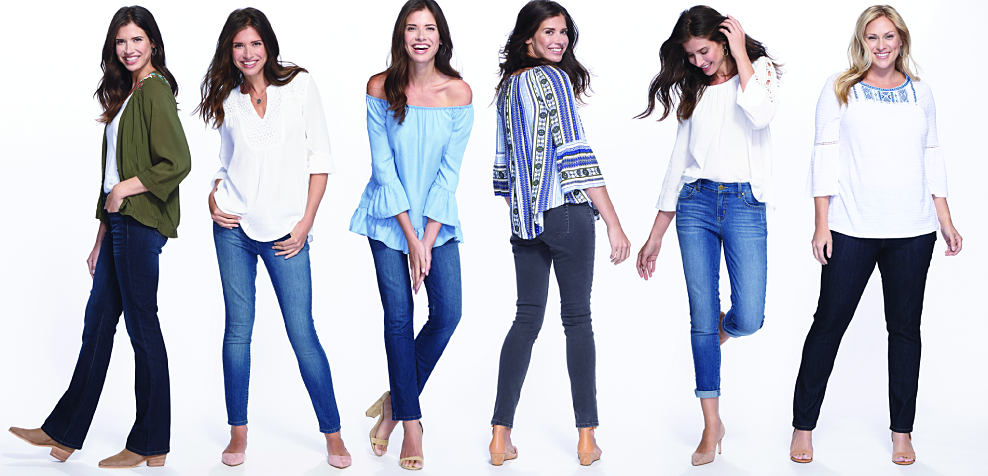 6 women wearing a variety of blue jeans & tops. Jeans for every occasion. Shop now.