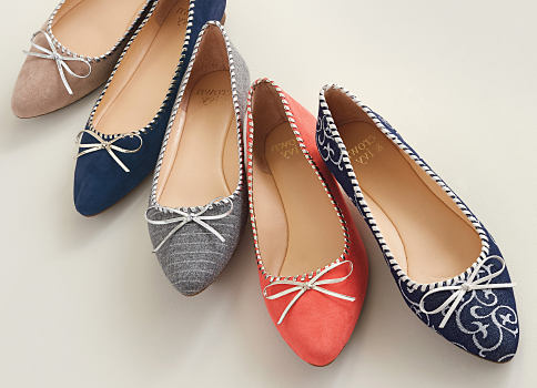 An assortment of women's flats in a variety of colors. Shop shoes.