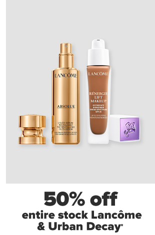 Two Lancome products, one face lotion and one foundation. 50% off entire stock Lancome and Urban Decay.