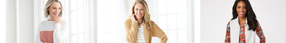 A woman wearing a white & coral colorblock long sleeved top. A woman wearing a beige sweater over a white & biege horizontal striped top. A woman wearing a white vest over a multi colored print long sleeved top. Kim Rogers. Easy everyday style. Exclusively at Belk.
