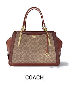 A beige & brown patterned print handbag with brown leather trim & handles. Shop Coach.
