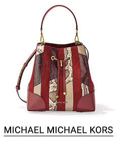 A burgundy leather & snake print colorblock tote. Shop Michael Michael Kors.