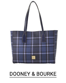 A blue & white plaid bucket tote. Shop Dooney & Bourke.