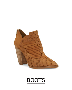A brown suede bootie. Shop boots.